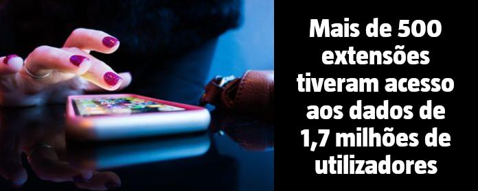Mais de 500 extensões tiveram acesso aos dados de 1,7 milhões de utilizadores